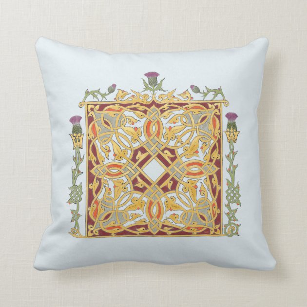 Scottish Thistle And Crown Red Gold Celtic Knot Throw Pillow Zazzle Com