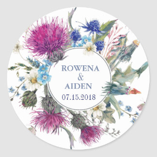 Scottish Thistle Floral Wedding Classic Round Sticker