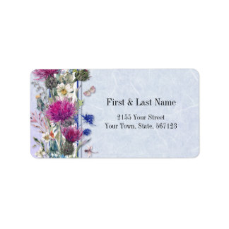 Scottish Thistle Floral Wedding Label