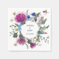 Scottish Thistle Floral Wedding Paper Napkins