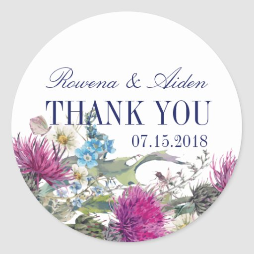 Wedding Gift Experiences Scotland : Scottish Thistle Floral Wedding Thank You Classic Round Sticker ...