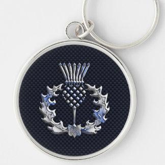 Scottish Thistle in Chrome Style Keychain