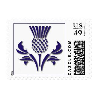 Scottish thistle in deep purple postage