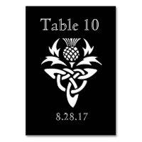 Scottish Thistle Initials - Table card - Black