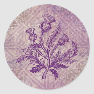 Scottish Thistle Purple Celtic Knot Classic Round Sticker