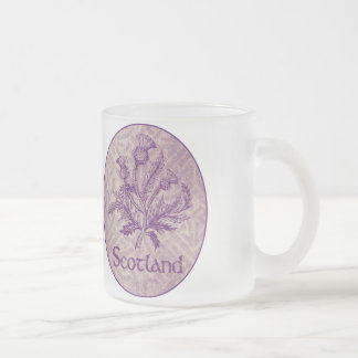 Scottish Thistle Purple Celtic Knot Frosted Glass Coffee Mug