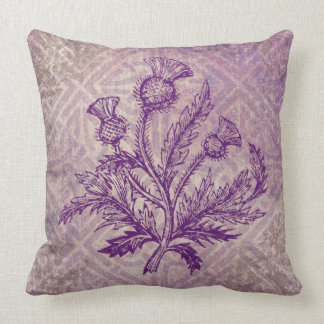 Scottish Thistle Purple Celtic Knot Pillow