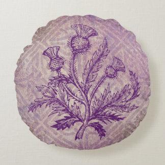 Scottish Thistle Purple Celtic Knot Round Pillow