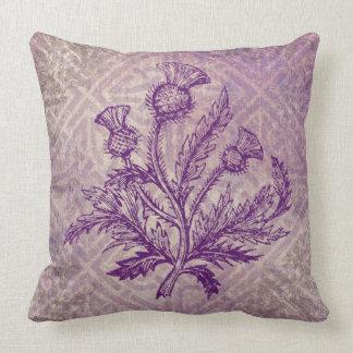 Scottish Thistle Purple Celtic Knot Throw Pillow
