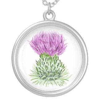 Scottish Thistle Round Pendant Necklace