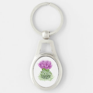 Scottish Thistle Silver-Colored Oval Metal Keychain