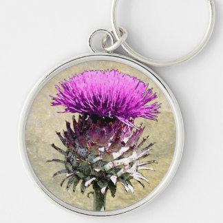 Scottish Thistle Silver-Colored Round Keychain