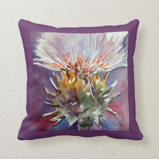 Scottish Thistle Watercolor Fine Art Pillow
