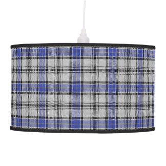 Scottish Touch Clan Hannay White Blue Tartan Pendant Lamp