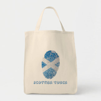 Scottish touch fingerprint flag tote bag