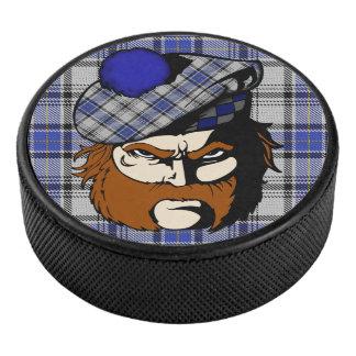 Scottish Warrior Clan Hannay Tartan Hockey Puck