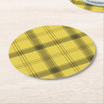 "Scottish Yellow Tartan Round Paper Coaster<br><div class=""desc"">Scottish tartan plaid yellow,  green and brown texture pattern.</div>"