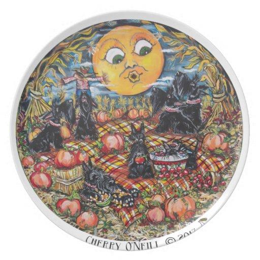 ScottishTerrier Halloween Picnic Dinner Plate