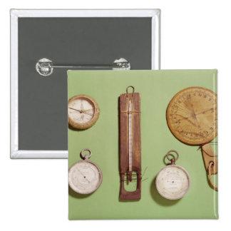 Scott's compass, thermometer, sundial, pinback button