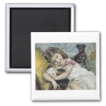 Scott's Emulsion Girl with Cats and Dog Fridge Magnet