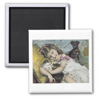 Scott's Emulsion Girl with Cats and Dog Magnet