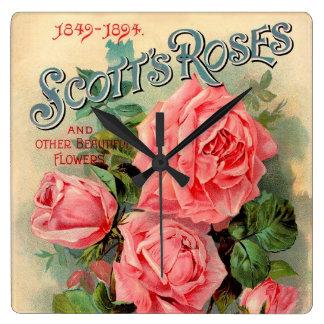 Scotts Roses Advertisement Square Wall Clocks