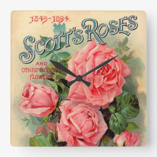 Scotts Roses Advertisement Square Wall Clock