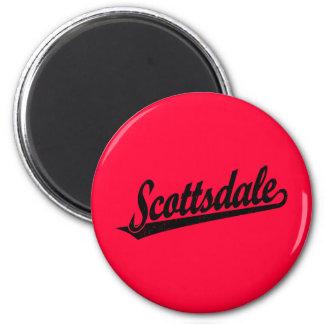 Scottsdale script logo in black distressed 2 inch round magnet