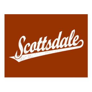 Scottsdale script logo in white distressed postcard