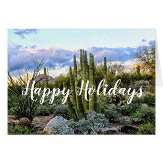 Scottsdale Succulent Sunset, Happy Holidays Card