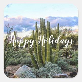 Scottsdale Succulent Sunset, Happy Holidays Square Sticker