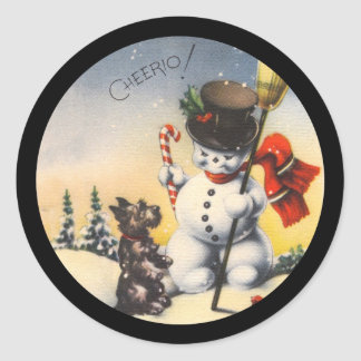 "Scotty and Snowman say ""cheerio!"" Classic Round Sticker"