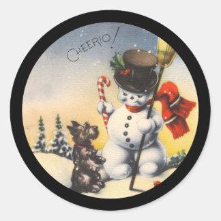 "Scotty and Snowman say ""cheerio!"" Classic Round Sticker"