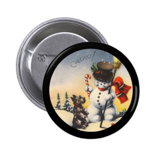 "Scotty and Snowman say ""cheerio!"" Pinback Button"