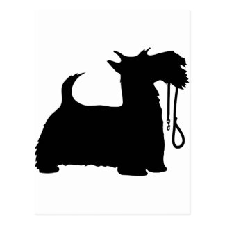 Scotty Dog and Leash Postcard