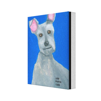 Scotty Dog Oil Paste Drawing by Julia Hanna Canvas Print