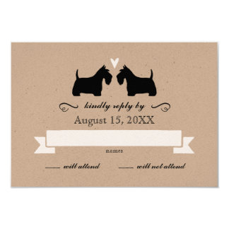 Scotty Dog Silhouettes Wedding RSVP Response Card