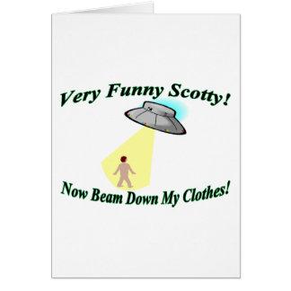 Scotty muy divertido tarjeta de felicitación