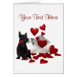 Scotty Puppy Red Rose Valentine Design Card