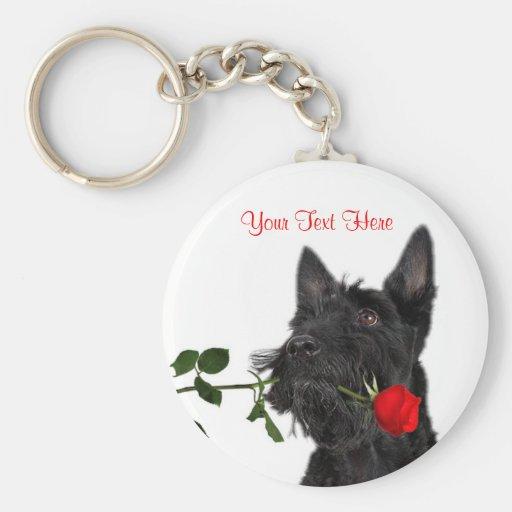 Scotty Puppy Red Rose Valentine Design Key Chain
