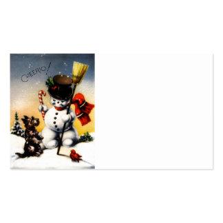 """¡Scotty y el muñeco de nieve dicen """"cheerio! """" Tarjetas De Visita"""