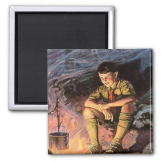 Scout at Camp fire Refrigerator Magnet