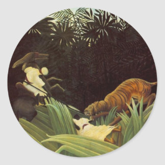 Scout Attacked By A Tiger Classic Round Sticker