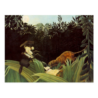Scout Attacked By A Tiger Post Card