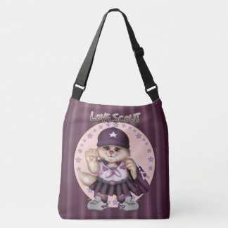 SCOUT CAT GIRL All-Over-Print Cross Body LARGE Crossbody Bag