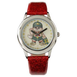 SCOUT CAT Kid's Red Glitter Strap Watch