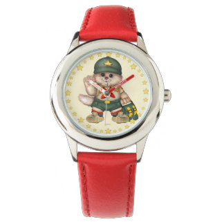 SCOUT CAT Kid's Stainless Steel Red Leather Strap Wristwatch