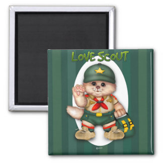 SCOUT CAT LOVE SQUARE MAGNET
