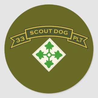 Scout Dog Platoons Classic Round Sticker