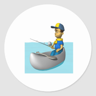 Scout Fishing 2 Classic Round Sticker